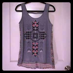 Graphic Tank Top with Sheer Back